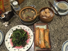 Chive Spring Rolls, Dumplings, Duck Blood Soup, Stick Vegetables