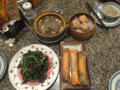 Chive Spring Rolls, Dumplings, Duck Blood Soup, Stick Vegetables